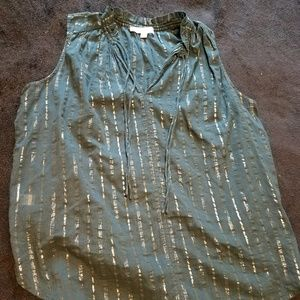 Gauzy Green tank top with Gold Stripes by Loft